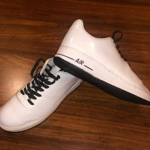 White patent leather Nike Air w/ polka dot laces